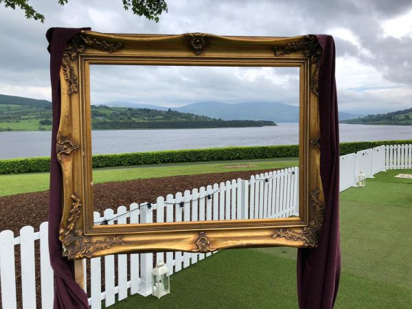 Marquee gold frame with a view